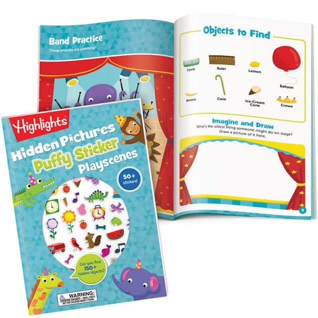 Hidden Pictures Puffy Sticker Playscenes book and band practice puzzle page