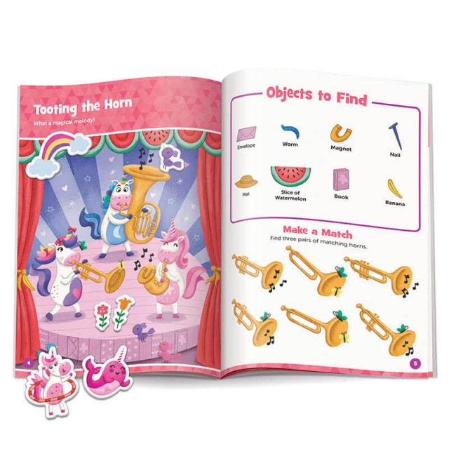 Tooting the Horn puzzle with stickers, and matching game