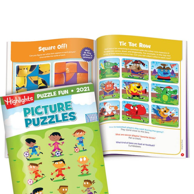 Picture Puzzles book, scrambled images puzzles and a Tic Tac Row puzzle