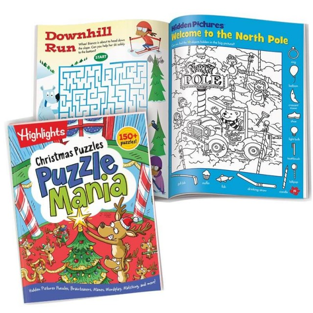 Puzzlemania Christmas Puzzles book with holiday themed maze and Hidden Pictures scene