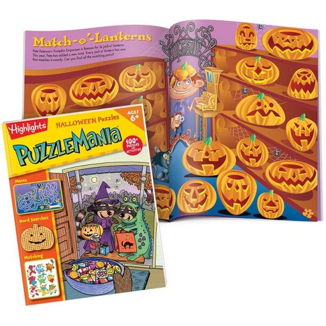 Puzzlemania Halloween Puzzles book and 2-page matching puzzle with jack-o-lanterns
