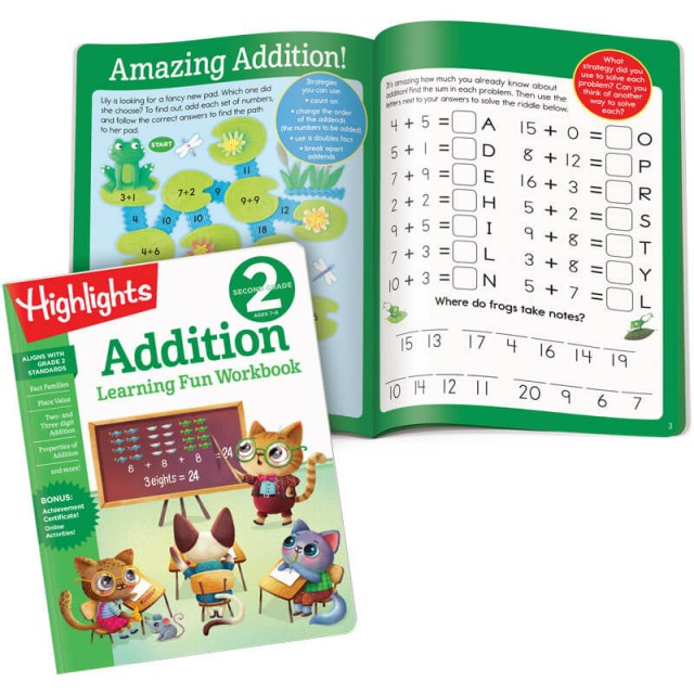 Learning Fun Workbook: Addition, and interior page with a maze and code puzzles