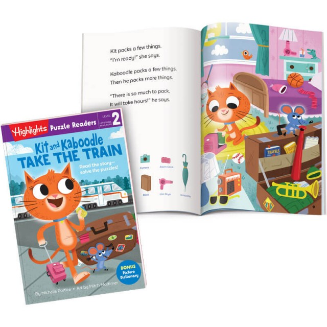 Kit and Kaboodle book and page with story and puzzle
