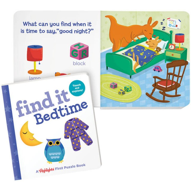 Find It Board Book: Bedtime, and baby's bedroom scene