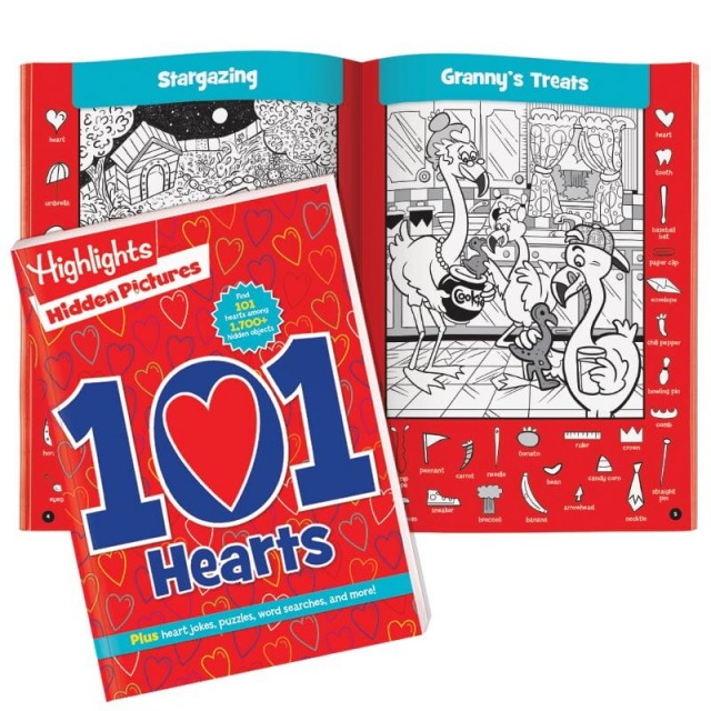 101 Hearts puzzle book and two puzzle scenes