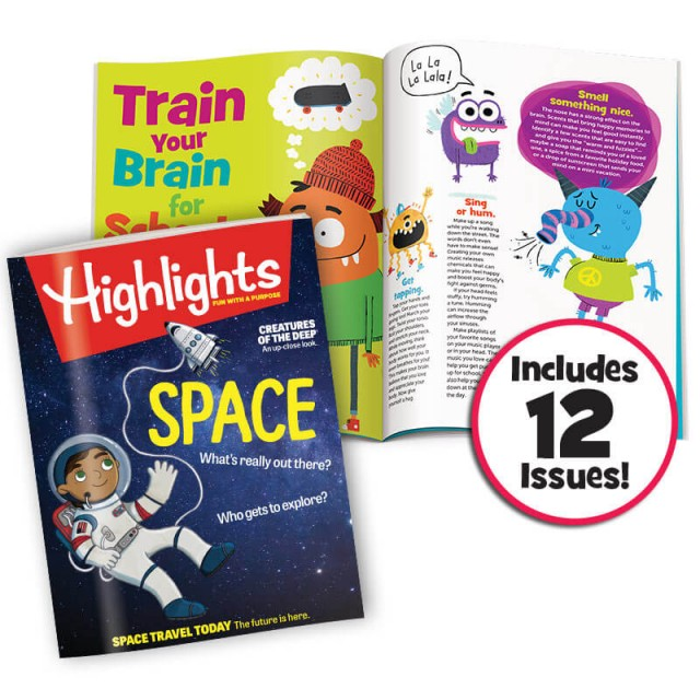 Highlights magazine and Train Your Brain article