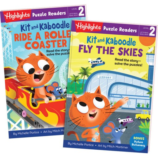 Kit and Kaboodle Fly the Skies and Ride a Roller Coaster puzzle readers