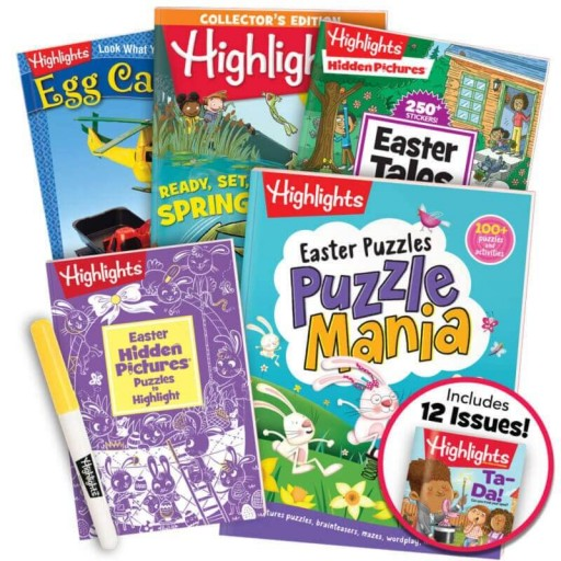 Easter Gift Set for ages 6+, with 5 books, yellow highlighter and magazine subscription