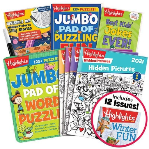 Deluxe Young Readers Gift Set with 4 books, Hidden Pictures 2021 4-book set and Highlights magazine subscription