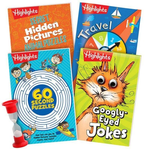 Fun to Go Puzzles and Games Collection, set of 4 books and 1-minute timer