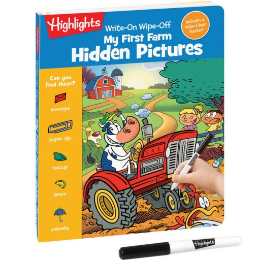 Write-On Wipe-Off My First Farm Hidden Pictures book and dry-erase marker