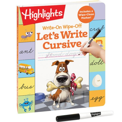 Write-On Wipe-Off Let's Write Cursive book with dry-erase marker
