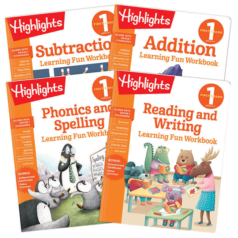 Learning Fun Workbooks First Grade Set of 4 | Highlights for Children