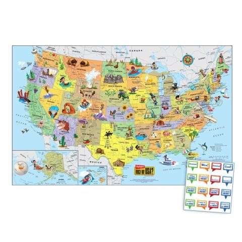 New U S Wall Map Highlights For Children